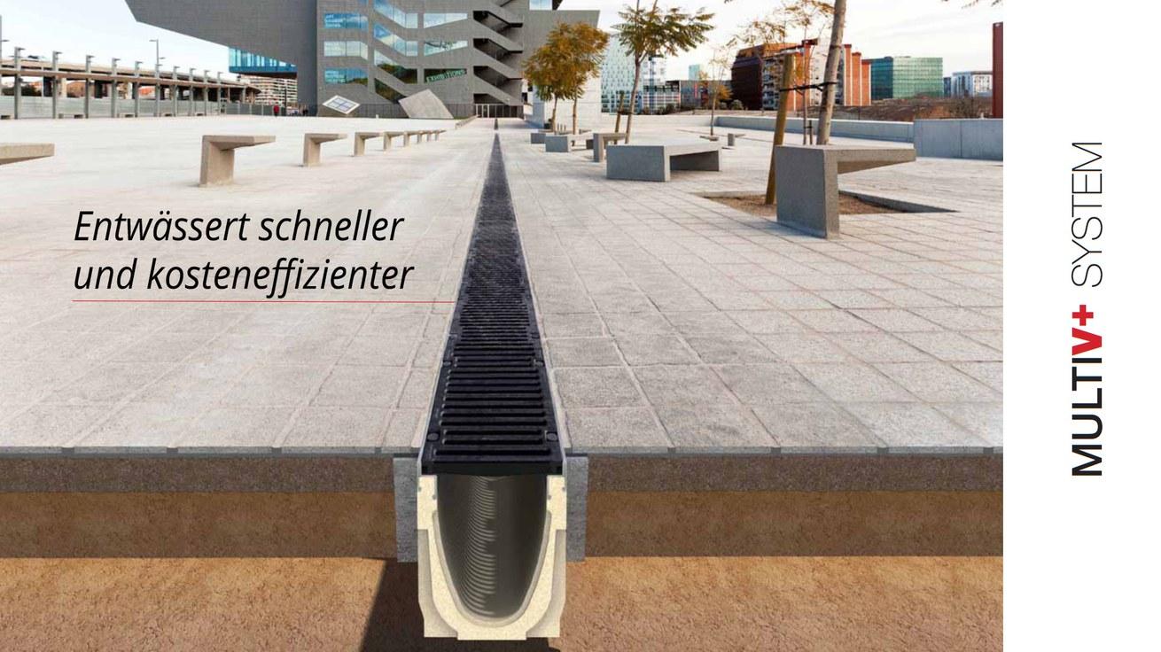 Entwässerungsrinne Multi V+ mit optimiertem V-Querschnitt