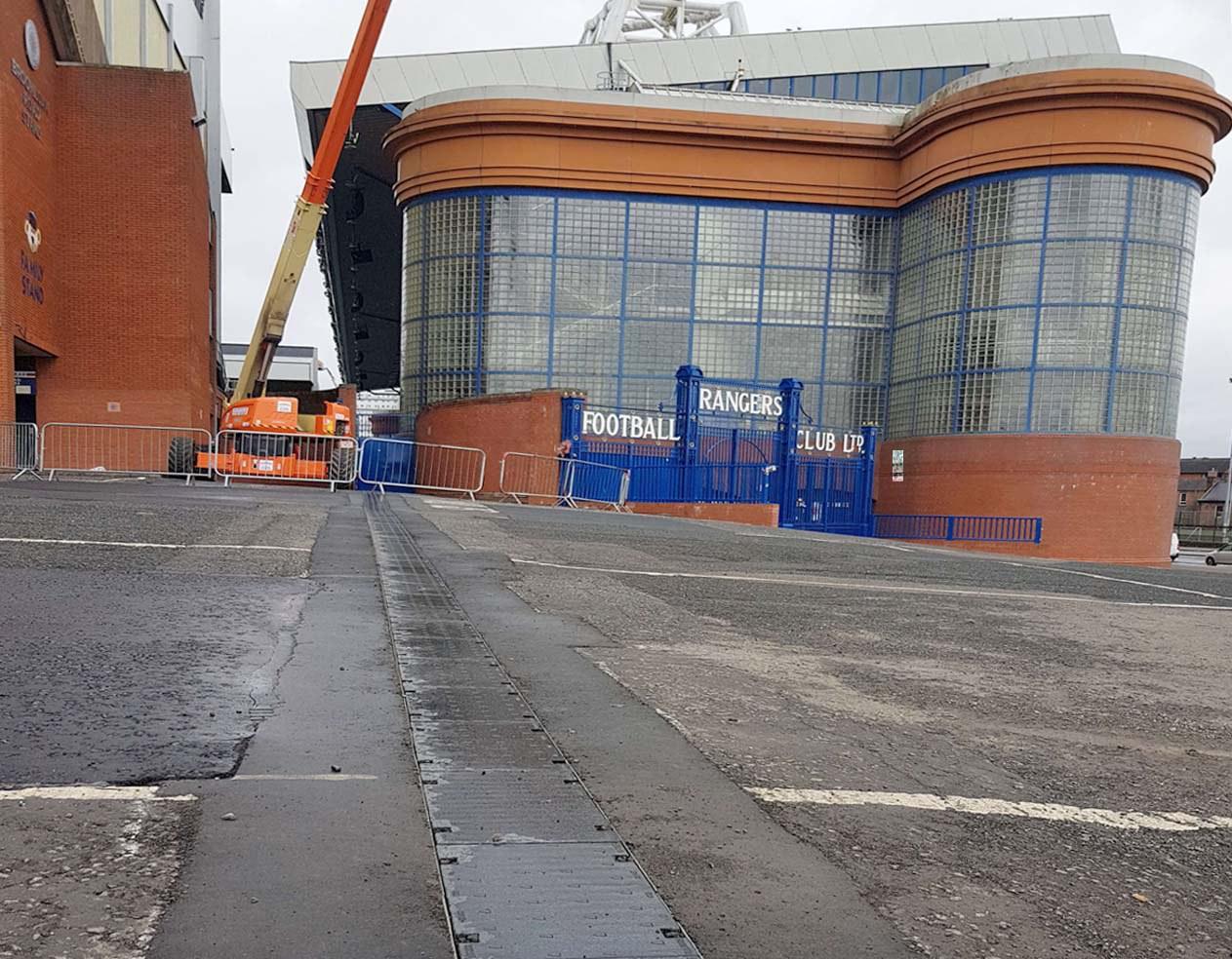 ULMA drainage channels in Ibrox Football Stadium, Glasgow, Scotland