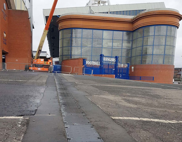 ULMA drainage channels in Ibrox Football Stadium, Glasgow, Scotland