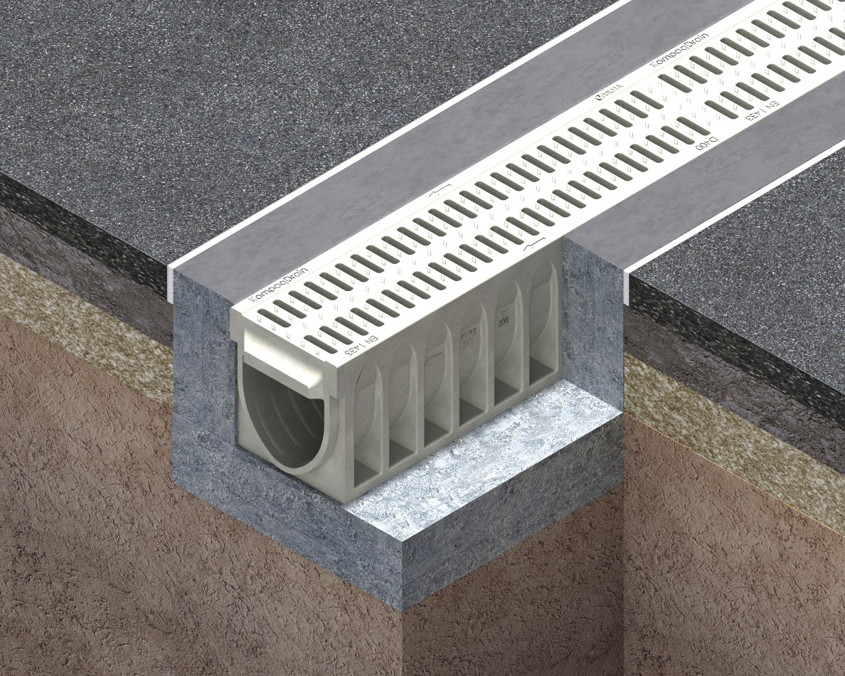 One-piece channel drain KOMPAQDRAIN
