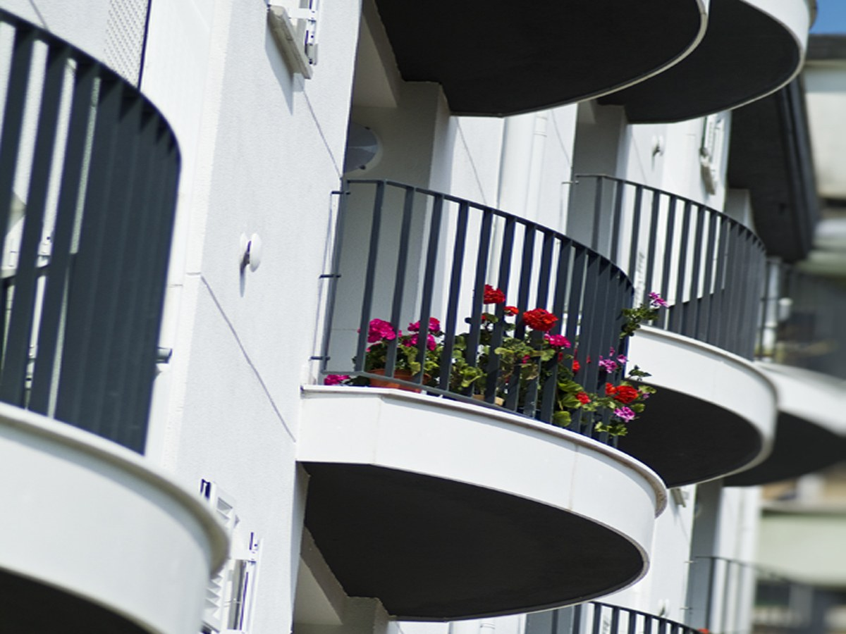 Curved balcony fronts in  San Sebastian- Basque country