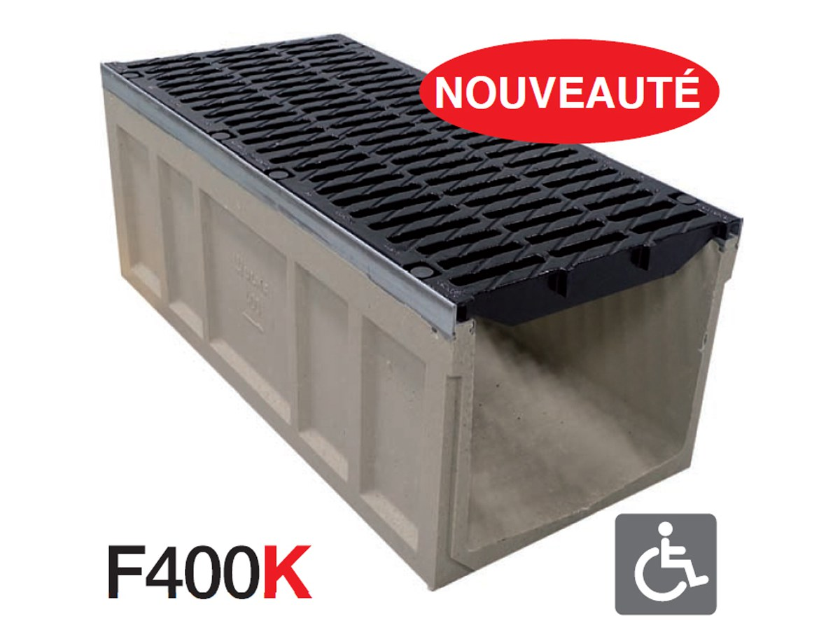 Nouveau caniveau largeur 400: section hydraulique maximale