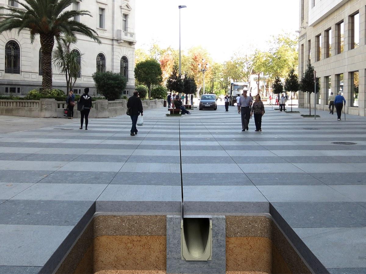 Reforma no centro de Santander com drenagem ULMA